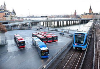 Subway trains crossing bridge in central Stockholm
