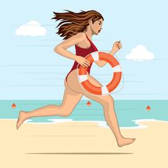 Running woman - lifeguard
