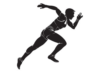 Runner-woman. Vector silhouette isolated on white