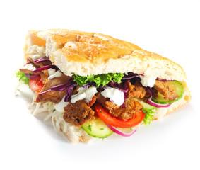 Doner Burger Slice Fried Meat and Veggies
