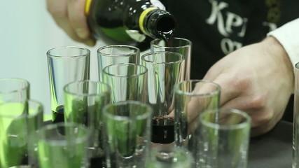 Making short cocktails. Macro
