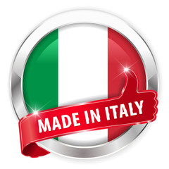 made in italy silver badge thumbs up button on white background