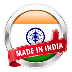 made in india silver badge thumbs up button on white background