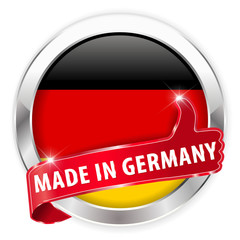made in germany silver badge on white background