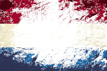 Dutch flag. Grunge background. Vector illustration