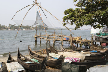 Chinese fishing nets in Kochin (Cochin) in Kerala in South India