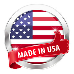 made in usa silver badge thumbs up button on white background