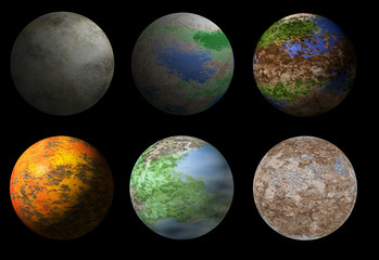 Collection of six fantasy alien planets