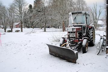 Traktor im Winter