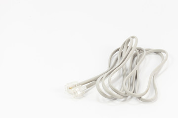White Modem Cable isolated on White background.