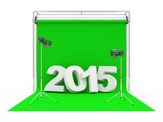 New Year 2015 on Modern Photo Studio with Green Screen