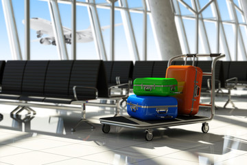 Traveler Suitcases in Airport Terminal Waiting Area.