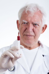 Physician with syringe