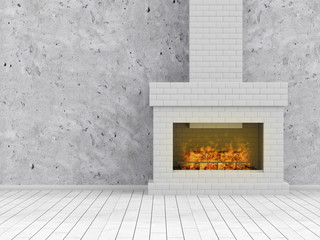 Empty Room 3D illustration, Interior with Burning Fireplace