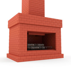 Fireplace made from Red Brick with Wooden Logs