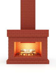 Fireplace made from Red Brick with Wooden Logs and Fire Flame