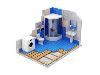 Apartment Construction Concept. Bathroom Under Construction
