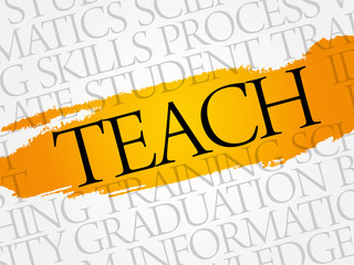 TEACH word cloud, education business concept