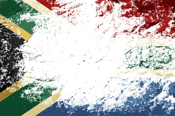 South Africa flag. Grunge background. Vector illustration