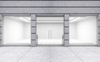 Leinwanddruck Bild - Modern Empty Store Front with Big Windows