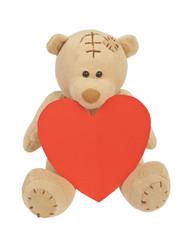 Valentine teddy bear and heart