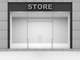 Modern Empty Store Front with Big Windows