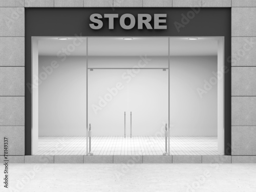 Modern Empty Store Front with Big Windows - 78149337
