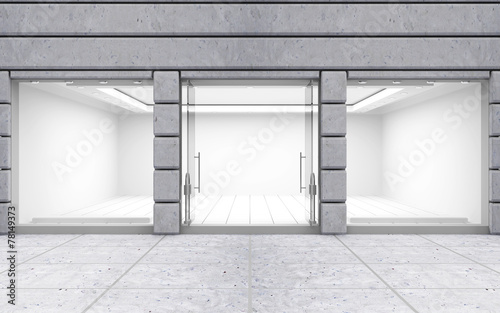 Modern Empty Store Front with Big Windows - 78149373