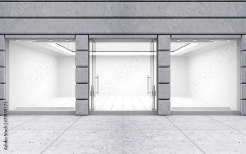 Leinwanddruck Bild Modern Empty Store Front with Big Windows