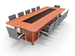 Modern Conference Table with Chairs isolated on white background