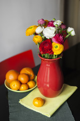 Bouquet of colorful Ranunculus asiaticus in a red vase.