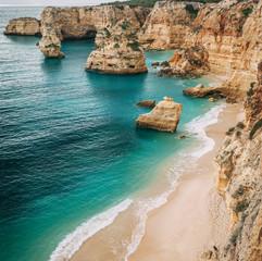 View of Navy Beach (Praia da Marinha) in Algarve, Portugal.