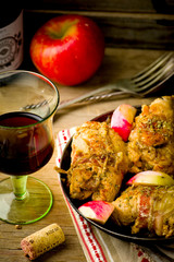 rolls from a turkey with apples.