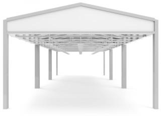 Opened Modern Storehouse isolated on white background