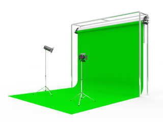 Modern Studio with Green Screen and Light Equipment
