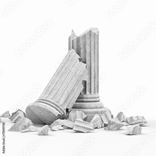 Broken Classic Ancient Column isolated on white background - 78149708