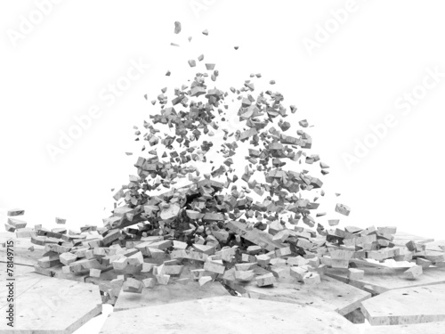 Deurstickers Rudnes Broken Concrete Floor isolated on white background