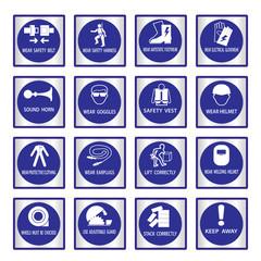 Metal mandatory signs used in industrial applications