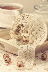 lace ribbon, beads vintage style
