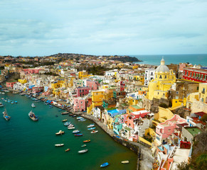 View to fishermans village on the Island Procida near Naples, i