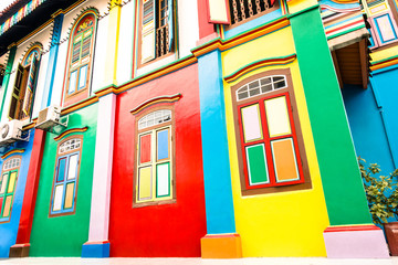 Multicolored houses at Little India in Singapore
