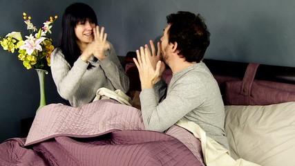 Woman hitting boyfriend after him asking forgiveness