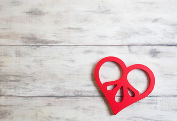 Valentines background with wooden heart