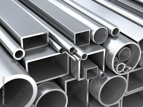 Poster Metal Metal round pipes and square tubes at warehouse