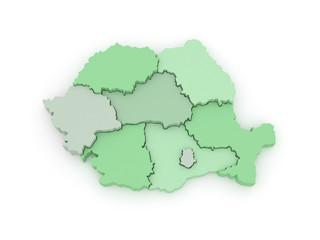 Three-dimensional map of Romania.