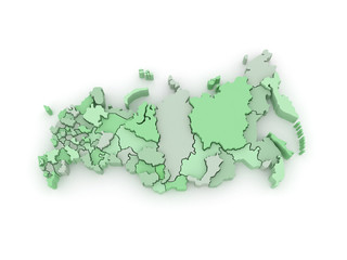 Three-dimensional map of Russia.