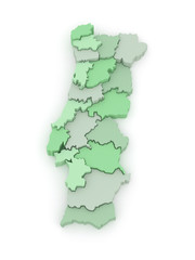 Three-dimensional map of Portugal.