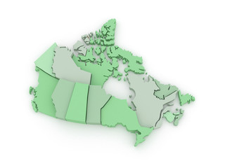 Three-dimensional map of Canada.
