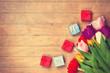 Obrazy na płótnie, fototapety, zdjęcia, fotoobrazy drukowane : Gift boxes and tulips