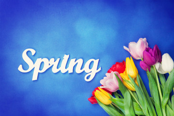 Bouquet of tulips and word Spring